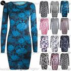 Womens Ladies Printed Floral Long Sleeves Slim Fit Stretchy Bodycon Mini Dress