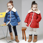 Kids Girls Clothes Winter Snowsuit Coat Kids Red/Blue Jacket Gown with Button