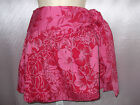 RED and Pink Bold Floral Soft Pleat Tie Side  Mini Skirt UK Size 8, 10, 12 (S1)