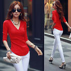 Sexy Women's 3/4 Sleeve V Neck Tops Fit Shirt Casual Tee Clubwear Stretch Blouse