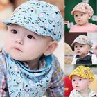 Kids Baby Boys Baseball Peaked Beret Sun Hats Cotton Beanie Cap Triangle Scarf