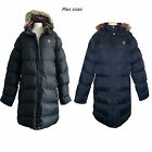 New womens Ladies PLUS SIZE padded Parka  tartan hood warm Winter Coat sz18-24