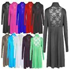 Ladies Plus Size Long Sleeve Lace Back Womens Cardigan Stretch Pleat Tops 12-26