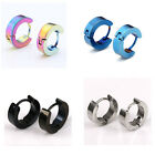 Pair Men Women Silver Black Blue Steel Hoop Huggie Ear Stud Earring Jewelry Gift