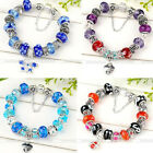 Silver Plated Murano Crystal Glass Elite European Charm Beads Bracelet Bangle 1x