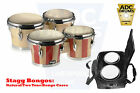 "Stagg 6.5"" & 7.5"" Tuneable Bongos: Natural Wood/Two Tone/Percussion Bag Case"