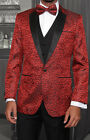 MENS RED 3 PIECE 1 BUTTON MODERN FIT EVENING SUIT JACQUARD PATTERN BOW TIE