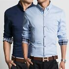 T222 New Men's Long sleeve Luxury Casual Slim Fit Stylish Dress Shirts 5 Size