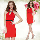Sexy Bodycon Stretch Slim Fit Red Short Cocktail Celebrity Evening Dress 05150