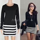 Women Long Sleeve Striped Blouse Bodycon Party Mini Dress Tops Tunic