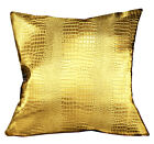 pd1022a Gold Faux Crocodile Glossy Leather Cushion Cover/Pillow Case Custom Size