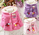 New Arrival Girls Kids Toddlers Thick Breasted Hoodie Coat Jacket Outwear 1-4Y