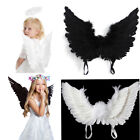 BLACK OR WHITE FAIRY ANGEL FEATHER WINGS HALLOWEEN FANCY DRESS COSTUME ACCESSORY