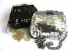 LADIES ELLA BLACK OR SILVER SEQUIN  EVENING / PROM  BAG WITH CHAIN STRAP- 72756