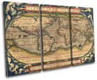 Old World Atlas Latin Maps Flags TREBLE CANVAS WALL ART Picture Print VA for sale  Shipping to Canada