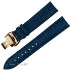Blue Wristwatch WatchBand Crocodile Grain Leather Strap Rose Gold Push Buckle