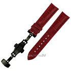 Crocodile Grain Leather Black Push Button Deployment Clasp Watch Band Strap Red