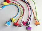 """Lot ROUND BRAIDED 8"""" (20cm) fabric charge cables FOR iphone 4 4s ipod data sync"""