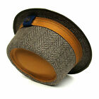 Dasmarca Adrian Mens Womens Wool Porkpie Herringbone Tweed Hat