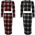 Ladies Long Sleeve Tartan Check Print PVC Trim Crop Top Knee Length Skirt Set