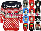 X2 WOMENS LADIES XMAS FESTIVE KNITTED WINTER JUMPER RETRO SWEATER REINDEER 8-22
