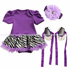 3pcs Newborn Infant Baby Girl Headband+Romper+Shoes Outfit Clothes US Ship