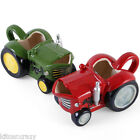 NOVELTY TRACTOR SHAPED MILK JUG , RED OR GREEN , COLLECTABLE