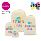 100 Personalised Drawstring Natural Cotton Bags Photo Text Logo Name Printed