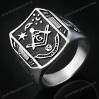 Punk Mens 316L Stainless Steel Freemasonry Mason Masonic Finger Biker Rings Gift