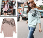 Korean NEW Women's Loose T-Shirt Leopard Print Batwing Long Sleeve Tops Blouse