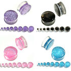 Pair Glitter Acrylic Saddle Flared Tunnels Ear Plugs Piercing Stretcher Gauges