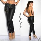 SEXY LEATHER LOOK TROUSERS WITH GOLD COLOUR ZIPS.UK 8.10.12.14.
