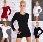 New Women's Long Sleeve Kintted Dress Pullover Jumper Sweater Inc Belt 6 colors