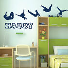Personalised Name Boys Wall Art Sticker - Parkour Theme Silhouettes