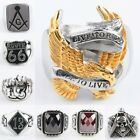 Stainless Steel Eagle Skull Masonic Freemasonry Route 66 Finger Ring Men Jewelry