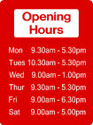 Opening Hours / Times Shop Office Sign 40cm x 30cm EXTRA THICK 5mm Rigid Plastic