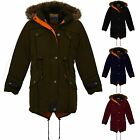 Children's Quilted Warm Winter Coat Girls Faux Fur Hooded Fishtail Parka Jacket