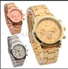 GENEVA Ceramic Fashion Boyfriend Style Gold Men's Women's Wrist Metal Watch FKS
