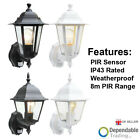 Outdoor PIR Wall Lantern Sensor Light Security Exterior Motion Security Lamp