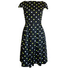 Black White Yellow 50's Polka Dots Cap Sleeve Party Dress Size 12, 14