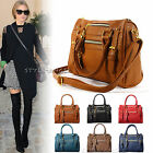 New Ladies Handbag Faux Leather Tote Women Shoulder Cross Body Bag Purse Hobo
