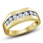 Men's 7-Stone American Diamond Band Ring in 14K Gold Plated 925 Sterling Silver