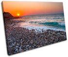 Pebble Beach Sunset Seascape SINGLE CANVAS WALL ART Picture Print VA