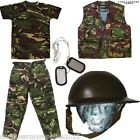BOYS ARMY OUTFIT KIDS TROUSERS HELMET T-SHIRT VEST DRESS UP FANCY DRESS MILITARY