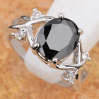 HOT OVAL BLACK Sapphire GEMSTONES SILVER RING Size 6 7 8 9 T6684