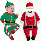Baby Christmas Cloths Outfits Boy Girl Kids Romper Hat Cap Set Gift for 0-2Y UK
