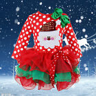HOT Baby Kids Girls Christmas Candy Santa Lace Tutu Dress Skirt One-piece Outfit