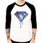 DRIPPING DIAMOND-galaxy#2 Cosmic Baseball t-shirt 3/4 sleeve Raglan Tee