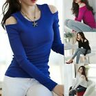 Sexy Women Cold Shoulder Knitted Stretch Bodycon T Shirt Party Club Top Blouse F