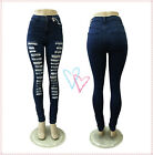 Sexy lady Ripped High Waist Slim Pencil Tights Stretch Skinny Women jeans pants